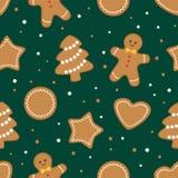 Galletas de la Navidad, modelo verde inconsútil stock de ilustración
