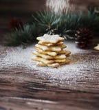 Galletas de la Navidad o del pan de jengibre del Año Nuevo en una caja de madera Foto de archivo