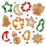Galletas de la Navidad y cortadores de la galleta Imagenes de archivo