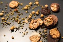 Galletas de la nuez y del chocolate Fotografía de archivo