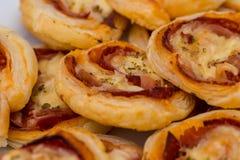 8676 galletas de la sal con el jamón y el queso Foto de archivo