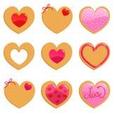 Galletas de la tarjeta del día de San Valentín Fotos de archivo