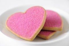 Galletas de la tarjeta del día de San Valentín Foto de archivo libre de regalías