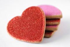 Galletas de la tarjeta del día de San Valentín Imagen de archivo libre de regalías