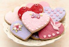 Galletas de la tarjeta del día de San Valentín Imagen de archivo