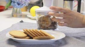 Galletas de mezcla para cocinar la torta de la crema del queso con los arándanos almacen de metraje de vídeo