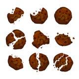 Galletas de microprocesador de chocolate del vector Galleta con las migas del chocolate aisladas en el fondo blanco stock de ilustración