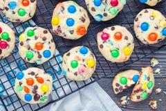 Galletas de torta dulce con los microprocesadores multicolores del caramelo y de chocolate en el estante de enfriamiento, horizon Imagen de archivo libre de regalías