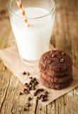 Galletas de viruta de chocolate dobles Imagen de archivo libre de regalías