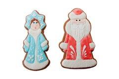 Galletas Ded Moroz Father Frost, doncella de los caracteres de la Navidad de la nieve de Snegurochka Imagen de archivo libre de regalías
