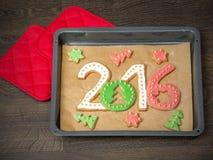 2016 galletas del Año Nuevo Imágenes de archivo libres de regalías