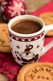 Galletas del café y del pan de jengibre, decoración de la Navidad Imagen de archivo