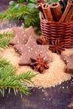 Galletas del chocolate de la Navidad con las semillas de sésamo Foto de archivo