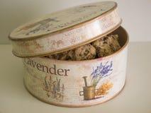 Galletas del chocolate en un tarro de la lavanda-stlye fotos de archivo libres de regalías