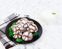 Galletas del chocolate y un vidrio de leche en el fondo blanco Foto de archivo libre de regalías