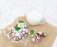Galletas del chocolate y un vidrio de leche en el fondo blanco Fotografía de archivo