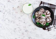Galletas del chocolate y un vidrio de leche en el fondo blanco Visión superior Foto de archivo libre de regalías