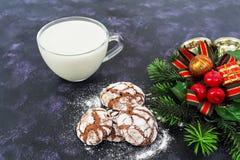 Galletas del chocolate y un vidrio de leche en fondo oscuro Imagen de archivo libre de regalías