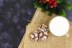 Galletas del chocolate y un vidrio de leche en fondo oscuro Visión superior Imagen de archivo libre de regalías