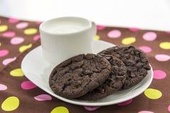 Galletas del chocolate y vidrio de leche Imagen de archivo