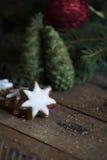 Galletas del día de fiesta y conos verdes Imagen de archivo libre de regalías