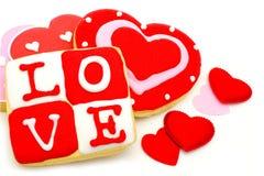 Galletas del día de tarjetas del día de San Valentín foto de archivo libre de regalías