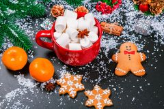 Galletas del fondo de la Navidad Foto de archivo libre de regalías