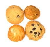 Galletas del galleta-chocolate de la mantequilla aisladas en el fondo blanco fotografía de archivo
