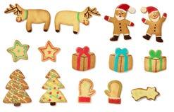 Galletas del gingerbead de la Navidad Imágenes de archivo libres de regalías