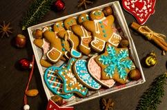Galletas del jengibre de la Navidad Foto de archivo