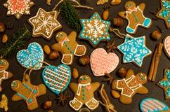 Galletas del jengibre de la Navidad Imagenes de archivo