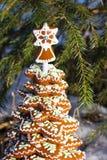 Galletas del jengibre en la forma de un árbol de navidad debajo de la picea Fotografía de archivo libre de regalías