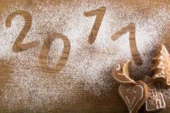 Galletas del pan de jengibre con 2017 Fotografía de archivo