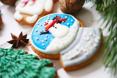 Galletas del pan de jengibre con helar adornado para la Navidad Foto de archivo