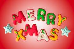 Galletas del pan de jengibre de la Feliz Navidad Fotografía de archivo