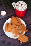 Galletas del pan de jengibre de la Navidad, chocolate caliente Foto de archivo libre de regalías