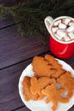 Galletas del pan de jengibre de la Navidad, chocolate caliente Foto de archivo