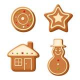Galletas del pan de jengibre de la Navidad Ilustración del vector Foto de archivo