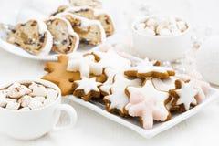 galletas del pan de jengibre del surtido, la Navidad Stollen y cacao Fotografía de archivo libre de regalías