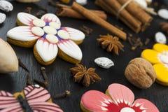 Galletas del pan de jengibre fijadas Foto de archivo libre de regalías