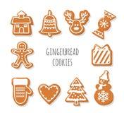 Galletas del pan de jengibre fijadas Elementos decorativos de la Navidad Imágenes de archivo libres de regalías