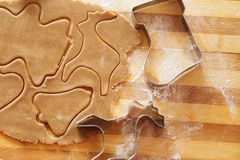 Galletas del pan de jengibre, formas e ingredientes hechos en casa de la hornada Fotos de archivo libres de regalías