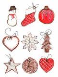 Galletas del pan de jengibre de la Navidad ilustración del vector