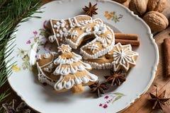 Galletas del pan de jengibre de la Navidad con las especias y las nueces Fotos de archivo libres de regalías