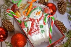 Galletas del pan de jengibre de la Navidad en la forma del muñeco de nieve Imagen de archivo libre de regalías