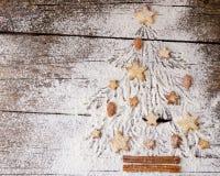 Galletas del pan de jengibre de la Navidad o del Año Nuevo, espacio para el texto, receta Foto de archivo