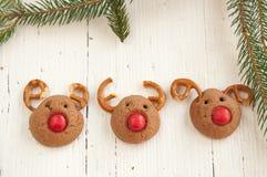 Galletas del reno de Rudolf de la Navidad Foto de archivo libre de regalías