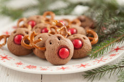Galletas del reno de Rudolf de la Navidad Fotografía de archivo libre de regalías