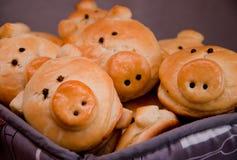 Galletas deliciosas en la forma de pequeños cerdos agradables Fotos de archivo libres de regalías