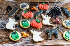 Galletas deliciosas hechas en casa del pan de jengibre para Halloween Fotografía de archivo libre de regalías